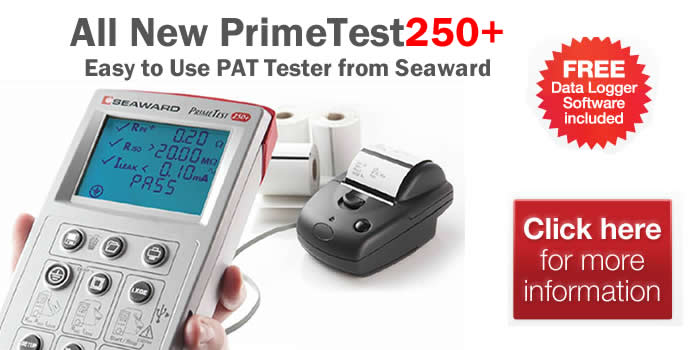 Seaward PrimeTest250+ Easy to use PAT Tester available from pat-testing.equipment
